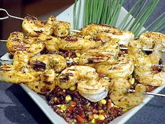Spicy BBQ Shrimp Skewers and Black Bean Relish...on the menu for the BBQ next weekend!