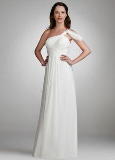 David's Bridal Wedding Dress: Draped Chiffon Gown with Jeweled Shoulder Style 21640, White, 12