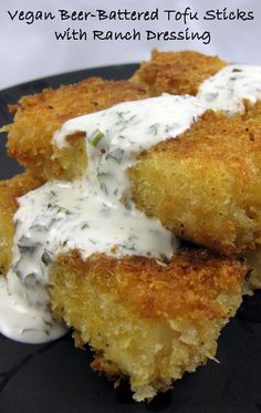 Beer-Battered Tofu Sticks with Ranch Dressing « Vegan Food Addict Totally unhealthy, but it looks delicious! Tofu Recipes, Vegan Recipes Easy, Vegetarian Recipes, Cooking Recipes, Vegan Vegetarian, Tofu Dishes, Vegan Main Dishes, Vegan Ranch, Beer Batter