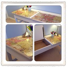 Upcycled old school desk. Hand painted in Annie Sloan original chalk paint, waxed and decoupage lid with vintage map paper.