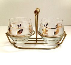 Vintage Libbey sugar and creamer set with caddy. Genuine Golden Foliage line, it was the most imitated line in the 1960s and its imitators are endless!