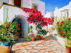 Today we want to show you stunning watercolor paintings of Greece created by artist Pantelis Zografos. For 30 years Pantelis Zografos doesn't live in Greece, but love to Art Watercolor, Watercolor Landscape, Belle Image Nature, Gravure Photo, Heavenly Places, Paint By Number Kits, Paint By Numbers, Home Decor Pictures, Greek Islands