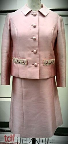 Pastel Pink with only a bit of glitz on the pockets. Very sensible. #TDFCC #KeepingUpWithTheCostumes #1960s