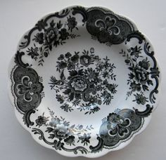 VINTAGE BLACK ENGLISH Floral TRANSFERWARE PLATE Asiatic Pheasants and Roses For consideration is this pretty transfer ware saucer plate by Ridgway in the Windsor pattern. Tons of florals and Victorian