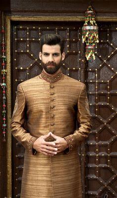 Raw silk brown straight cut. Amir Adnan
