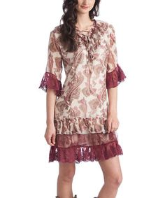 Another great find on #zulily! Rancho Estancia Ivory & Burgundy Majestic Paisley Angel Shift Dress by Rancho Estancia #zulilyfinds
