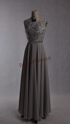 Light Gray Beaded Long Prom Dresses with Peacock by petorhouse