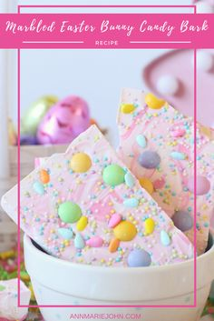 Marbled Easter Bunny Candy Bark with Limited Edition White Chocolate Easter M&M's