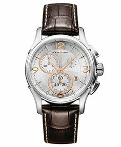 Hamilton Watch, Men's Swiss Chronograph Jazzmaster Brown Leather Strap 42mm H32612555