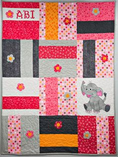 Elephant applique baby quilt PDF pattern; easy downloadable nursery quilt pattern; whimsical boy or girl quilt pattern; Ms P Designs USA by MsPDesignsUSA on Etsy