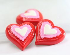 Red and White Heart Resin Cabochons Resin Hearts by TrinketHouse, $2.90