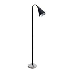Vintage Arte Luce style floor lamp with black metal cone shade and white, round marble base #vintage #lighting #interiordesign