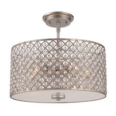 Shop Quoizel Juliana 14.25-in W Gold Etched Glass Semi-Flush Mount Light at Lowes.com