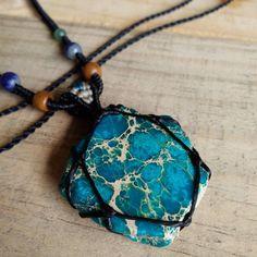 Macrame Necklace Pendant Rough Sediment Jasper Stone Cotton Waxed Cord Handmade…