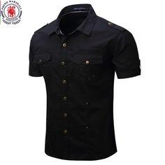 0380c91055f Fredd Marshall 2017 nueva llegada mens cargo camisa hombres camisa casual  de manga corta de color sólido trabajo camisas con lavado estándar usa  tamaño 100% ...