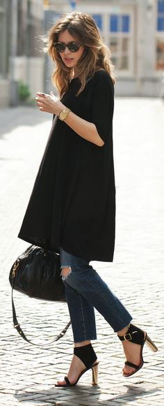 Black Elbow Length Sleeve Swing Tshirt Dress by Fash n Chips