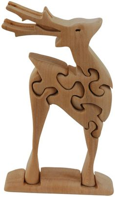 20702 Reindeer Natural Wood 3d Puzzle