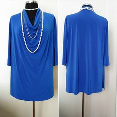 Royal Blue Long Jersey Top,     Long sleeve shirt with large cowl-neck,      Women Casual Clothing naturel  freesize Oversize