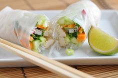RECIPE: These rainbow spring rolls are packed with colorful, crisp veggies and go well with a spicy peanut sauce or fresh lime. www.viance.com #healthyrecipes #nutrition #healthyappetizers