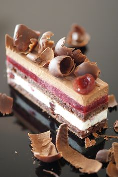 Foret Noire (dark chocolate mousse with kirsch, chantilly cream, and Griotte/Morello cherries).  Chocolate and cherries go so well and I'm pretty sure these are Morello cherries, as I've found many other recipes for the Morello/chocolate combo.  The smoothness of these layers is inspiring. [From Patisserie Plaisir]