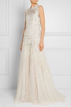 Needle & Thread | Bridal lace-trimmed embellished tulle gown | NET-A-PORTER.COM