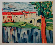 Maurice de Vlaminck: Riverscapes  Chatou, with Red Tree (1906). 15-color lithograph after a painting, 1958. Edition: 2000 impressions executed in collaboration with Charles Sorlier at the Atelier Mourlot in Paris. Image size: 207x287mm. Price: 475.00 dollars  Spaightwood Galleries, Inc.