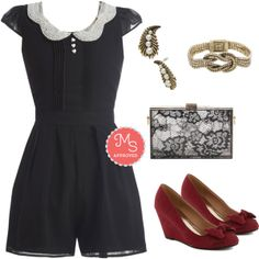 In this outfit: Romance Columnist Romper, Party Hostess Wedge, Cool Clear Night Clutch, Knot to be Missed Bracelet, Delve into Dazzling Earrings #romper #clutch #wedges #peterpancollar