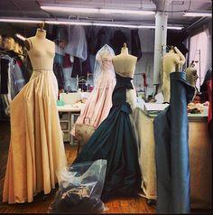 Inside the Zac Posen Atelier. Hand draped beuatiful evening ball gowns.