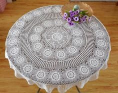 160 CM Round table topper Vintage Look table by LynnLakeWorkshop