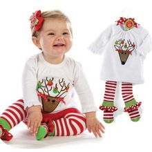 Baby Christmas Costumes Kids Clothes Sets Pajamas Children's Suit Tshirt Pants Cute Toddler Girl Clothing(China (Mainland))