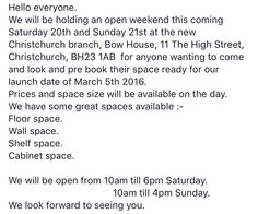 OPEN WEEKEND!! Come along!