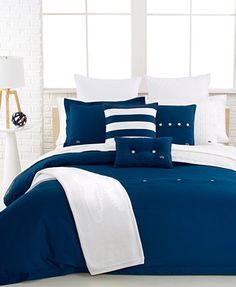 lacoste bedding, solid peacoat brushed twill comforter and duvet
