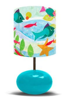"""""""Friendly Fish - Turquoise Base"""" - Children's Lamp from Oopsy daisy, Fine Art for Kids"""