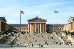 Philadelphia Art Museum - best in the world. If you are ever in Philly don't miss going here. You can see Rocky's footprints in the top step. Visit Philadelphia, Philadelphia Museum Of Art, Historic Philadelphia, Rocky Steps, Rodin Museum, Phoenix Art Museum, Museum Architecture, Classic Architecture, Famous Art