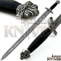 """38"""" NEW AWESOME VIKING DAMASCUS STEEL SWORD / LEAHTER WRAP WOODEN HANDLE KE-S26 #KNIVESEXPORTER"""