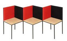 Banc & Chaise Illusion Ce mobilier en trompe-l'oeil joue sur la perspective et ses illusions d'optique, La structure du banc et de la chaise est en fer forgé noir mat, l'assise et le dossier sont habillés de mousse haute densité, revêtus de tissu microfibre façon daim, classé M1. Autres coloris et matières sur demande.  Par 22 22 Edition Design. $2,581.