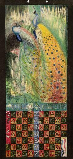 ¤ Leo Visser calendar juli augustus. juillet aout. Peacocks.