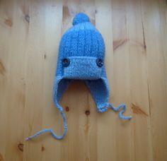 Knit - Baby Knitted Cap earflaps with pom pom - ear flap - Of Wool For Boys - 4-7 months. https://www.etsy.com/ru/listing/217544271/vazanie-dla-detej-vazanaa-apoka-dla?ref=listing-shop-header-1&langid_override=0