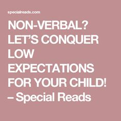 NON-VERBAL? LET'S CONQUER LOW EXPECTATIONS FOR YOUR CHILD! – Special Reads