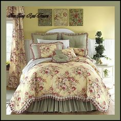 yellow floral bedding   Details about 11 KING BUTTERY YELLOW FLORAL TOILE COMFORTER SET