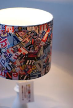 A lampshade made by artist Kirsty Whitlock. I love letters and this is a great way to incorporate them in an art piece by recycling old or used magazines.