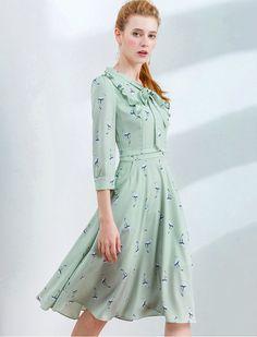 Bird Print Elbow Sleeves Bow Midi Dress