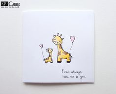 KIO CARDS - HANDPAINTED GIRAFFES MOTHER'S DAY CARD #handpainted #watercolours #giraffes #cute #handdrawn #illustration #mothersday #mothersdaycard #mothersdaygifts #handmade #handmadecards #handmadegifts #crafts #papercrafts