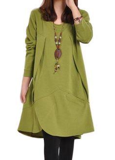 Green Long Sleeve Asymmetric Hem Dress   lulugal.com - USD $24.48
