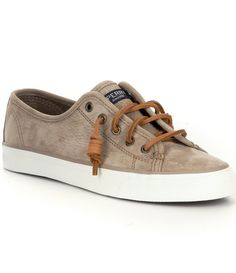 c968d6ad195a Sand Sperry Seacoast Washable Leather Sneakers