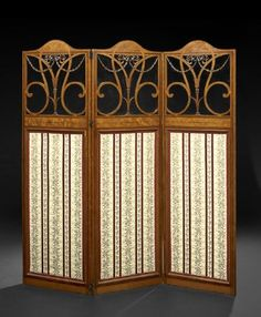395: Edwardian Satinwood Three-Fold Screen : Lot 395