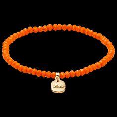 bracelet, gold plated, orange