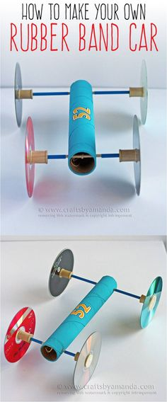 How to Make a Rubber Band Car / Crafts by Amanda