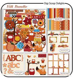 Kürbis, Scrapbook Kit Bundle, Fox, Herbst Eulen, Blätter fallen, Clip Art Instant Download