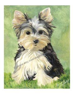 Yorkie Pup Signed 8 x 10 Fine Art Print. $27.95, via Etsy.